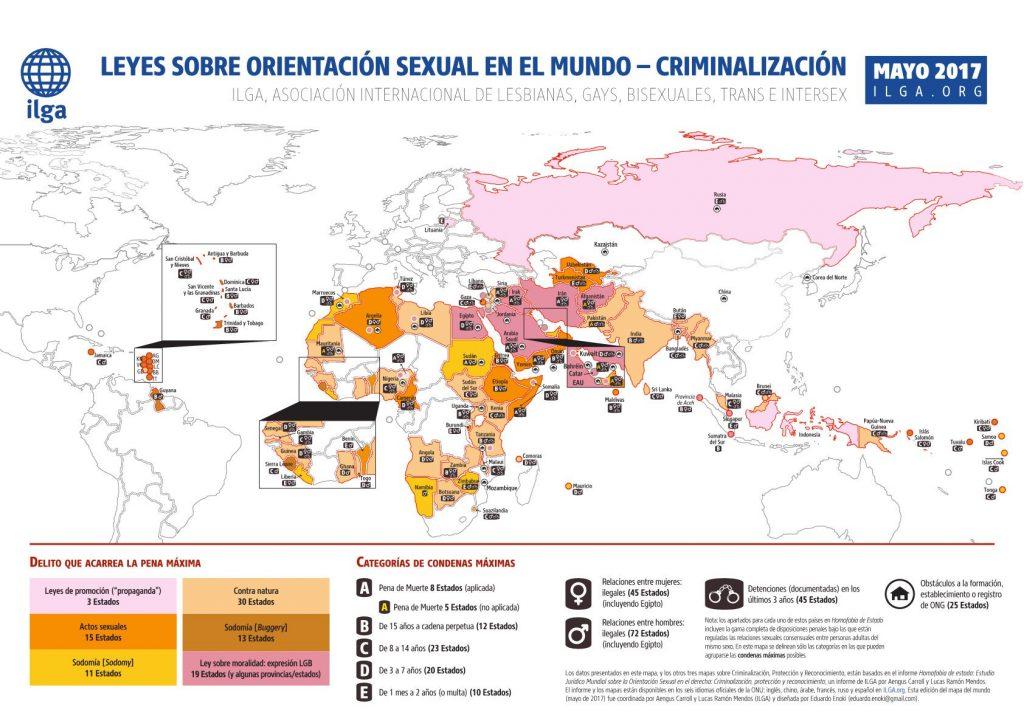 Mapa que muestra los países donde la orientación sexual puede ser considerada un delito - ILGA